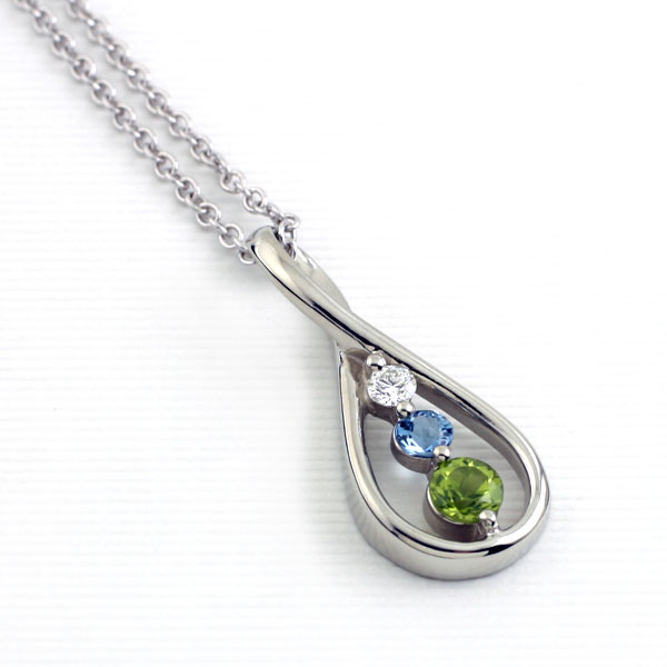 Custom Birthstone Drop Pendant