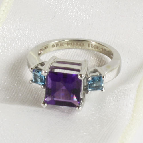 Custom Amethyst and Aquamarine Gemstone Ring