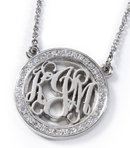 Diamond-Rimmed Palladium Monogram Pendant
